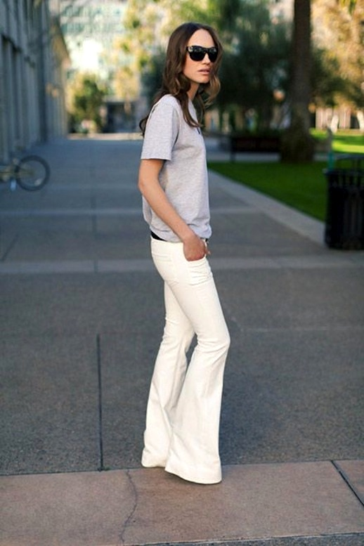 Flared denim - White Jeans Outfit Ideas