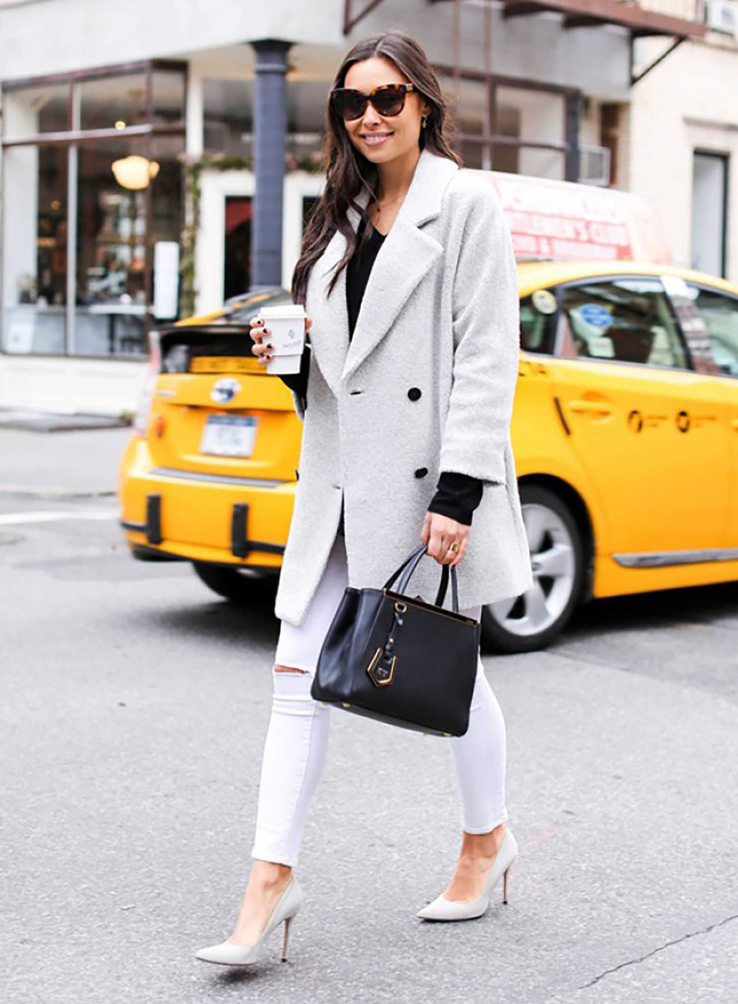 Coat with denims - White Jeans Outfit Ideas