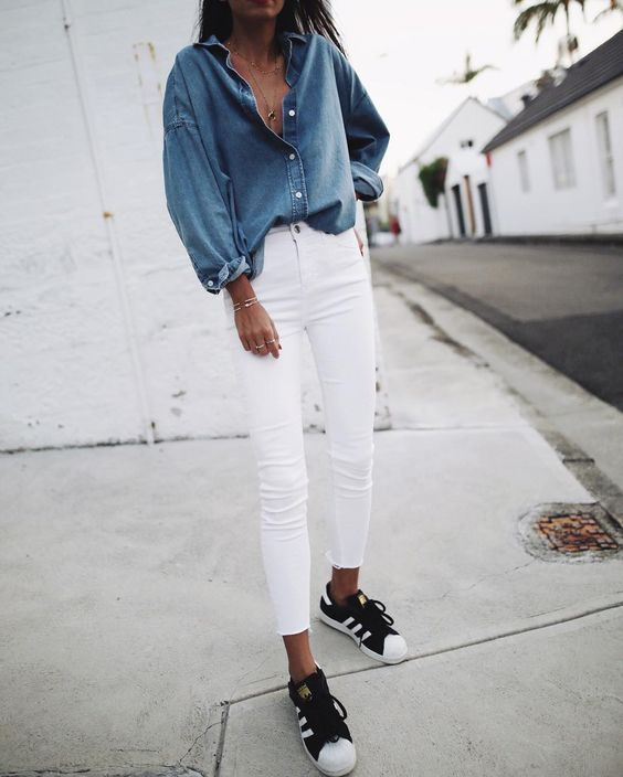 Blue denim on white - White Jeans Outfit Ideas