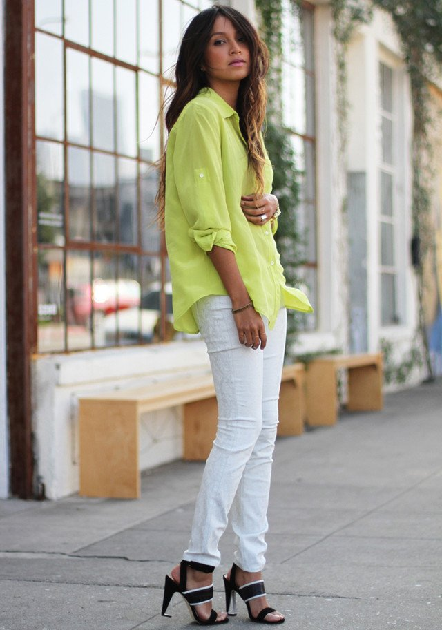 Bright colored blouse - White Jeans Outfit Ideas