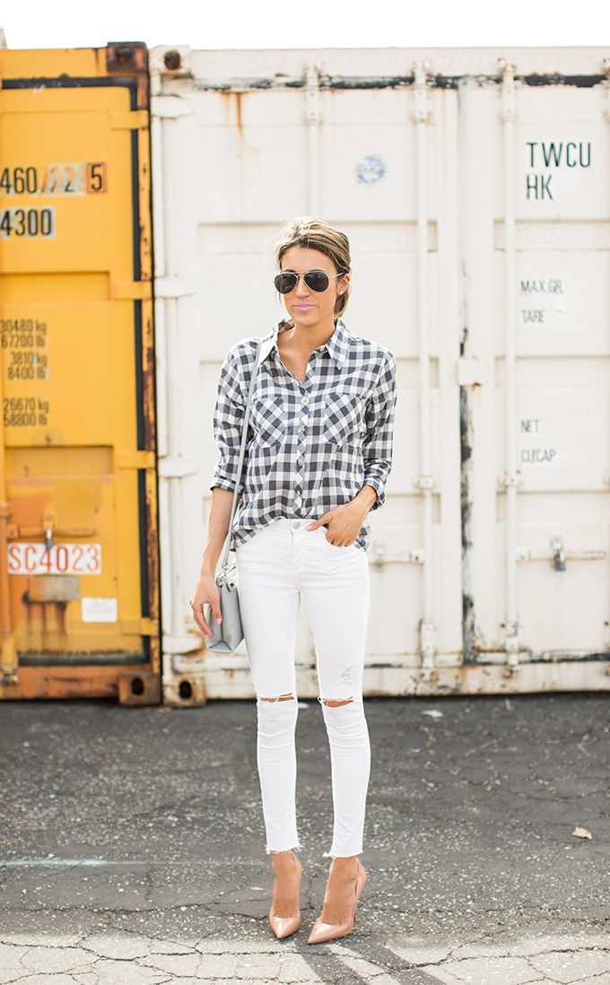 Gingham print shirt - White Jeans Outfit Ideas