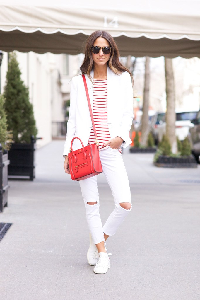 Arielle Charnas style - White Jeans Outfit Ideas