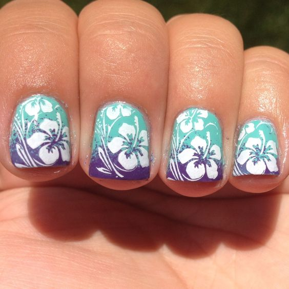Summer Nail Colors Trend-Hawaiian Flowers